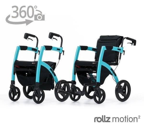 Rollz Motion 2 Rollator und Rollstuhl Kombination mit 360 Grad Ansicht im rehashop
